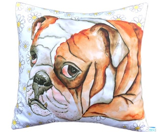 Illustrated British Bulldog cushion cover / pillow with daisy flower background