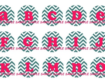 INSTANT DOWNLOAD...Teal & Hot Pink Chevron Pattern Alphabet 1 Inch Circle Image Collage for Bottle Caps...Buy 3 get 1