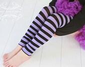 Black and Purple Striped Girls Leg Warmers FREE SHIPPING
