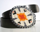 CLEARANCE Needlepoint Tribal Industrial Chic Belt Buckle