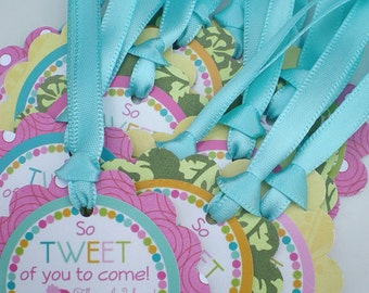 Girly Bird Birthday Party Favor Tags Fully Assembled Decorations