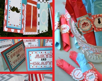 Circus Birthday Party Decorations Red Blue Fully Assembled