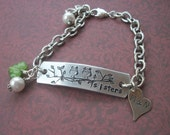 Sister's Two - Two Little Owls Sitting In A Tree - Antique Silver Bracelet