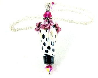 Floral Necklace, Polka Dot Necklace, Pink Black White Necklace, Lampwork Necklace, Flower Necklace, Gift for Her, Pendant - French Twist