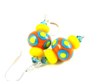 Colorful Glass Earrings, Neon Earrings, Orange Yellow Blue Earrings, Lampwork Earrings, Beadwork Earrings, Polka Dot Earrings - Ring Toss