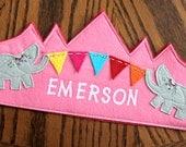 Girl Elephant Banner Birthday Crown