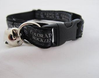 Colorado Rockies Cat  or Small Dog Collar with Option of Black or Pink Backing