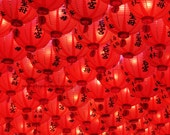 Big red great luck - Red Lanterns paper lanterns spring chinese characters kanji great luck Mazu temple gift for mom Fine Art Print