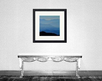 Blue Ridge Mountain Blues - nursery cabin forest mountain climbing summer house wall decor Fine Art Print16x16 Limited 1/50