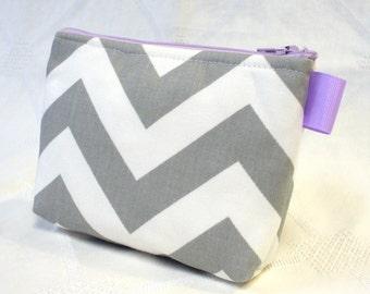 Bridesmaids Chevron Fabric Cosmetic Bag Gadget Pouch Zipper Pouch Makeup Bag Cotton Zip Pouch Gray Lilac Purple White MTO