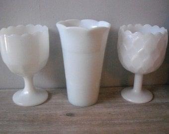 3 vintage milk glass vases ... pedestal urns and trumpet vase ... Wedding white ... candy bar dishes ...  Planters
