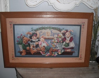 Vintage framed picture Whimsical Bunnies and Teddy Bears pictures .. God Bless Our Home .. Cottage