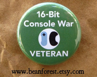 16 bit console war veteran - pinback button badge