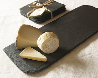 Set of 4 COASTERS & SM Cheese BOARD, Black Purple Salvaged Slate with Eco-Backing—Housewarming, Wedding Registry, Holiday-Thanksgiving Gift