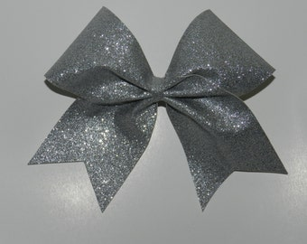 """3"""" Texas Size Cheer bow - Silver Glitter - squad discounts"""