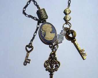Cameo and Keys Trinket Necklace