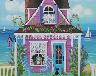 Lilacs and Lace Bed and Breakfast Folk Art Print