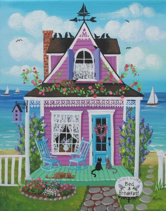 Lilas et dentelle chambres d'hotes Folk Art Print