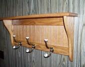 Oak Coat Rack Wood Wall Shelf 30 Inches Rustic Country Charm Wood