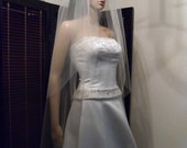 Sheer Wedding Veil Fingertip Double Veil Cut Clean Edge, Bridal Veil DT30/45X50CE
