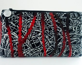 Candy Forest Needle-Punched Embroidered Wool Flat-Bottom Zip Bag - FREE SHIPPING