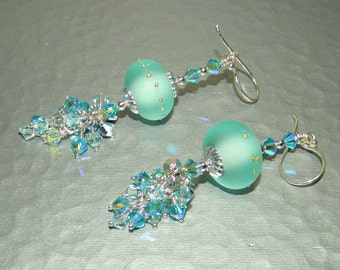 Icy Blue - Lampwork beads Earring set with a Cluster of Swarovski Crystal and sterling silver