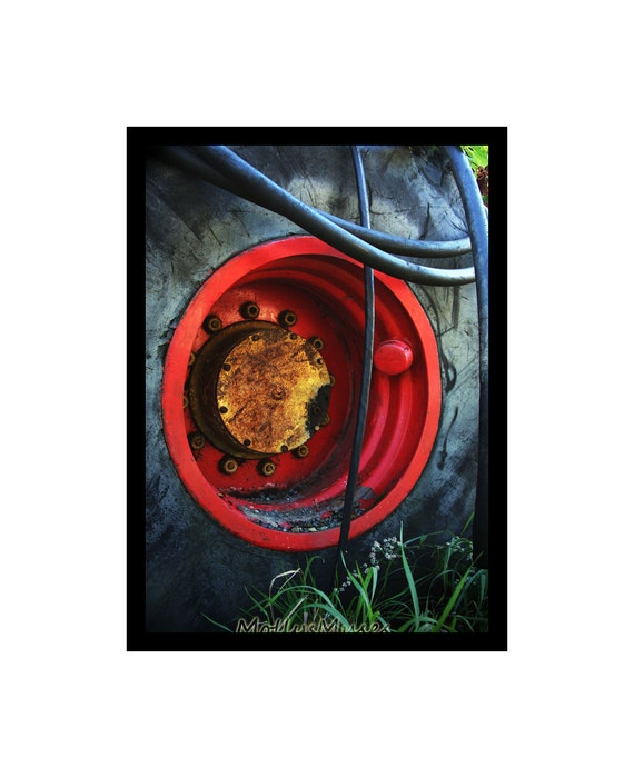 Tractor Tire Abstract Art Photograph, Industrial Home Decor Wall Print, Garage Decor, Man Cave Art, Red Gray and Blue Print,