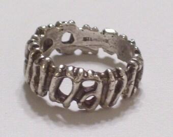 Brutalist Sterling Ring, Modernist Sterling Silver Ring, Vintage Sterling Ring Band Size 6.5