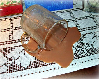 Fake Spilled Cup of Coffee in a Glass Starbucks Mug Gag Photo Prop Staging