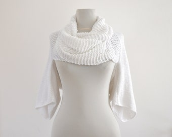White Bridal Shrug Bolero Womens Sweater Cardigan Jacket Tunic Wrap Sweater Hand Knit