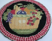 2 Vintage Hand Hooked Chair Pads Rugs Fruit Baskets