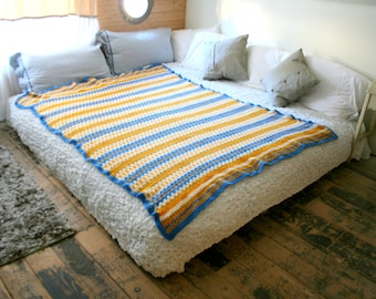 Vintage Gold And Blue Stripe Crochet Bed Spread