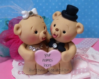 Sweet Teddy Bear Wedding Cake Topper / Bride and Groom / Anniversary /  Bride and Groom Gift
