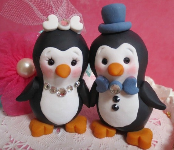 penguin cake toppers wedding happy penguin wedding cake topper decor or wedding 6441