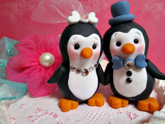 Penguins Sweet Love Bird Penguin Wedding Cake Topper Hand Sculpted Personalized