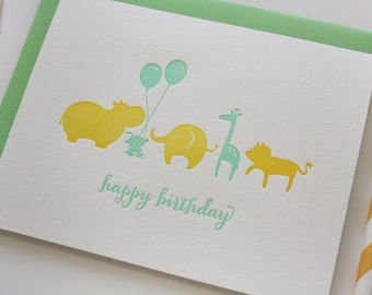 Letterpress Birthday Card - Animal Parade Birthday