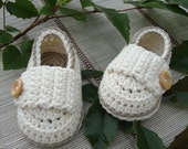 Crochet baby  shoes little loafers ivory and taupe size 3/6 months with gift box