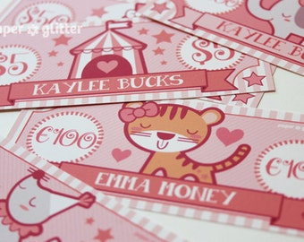 Circus Pink Paper Toy Money or Gift Certificate Printables  - Editable Text PDF-You type in the text to personalize