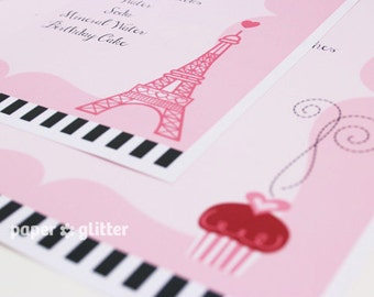 Paris Eiffel Tower and Cupcake Menu  - Editable Text Printable PDF-You type in the text to personalize