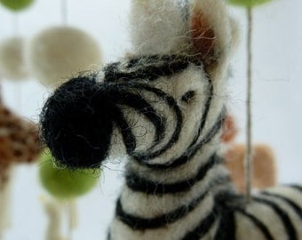 African Animal Baby Mobile, Bright Felted Nursery Mobile with Zebra, Lion, Elephant, Giraffe and Egret, lime, teal, white