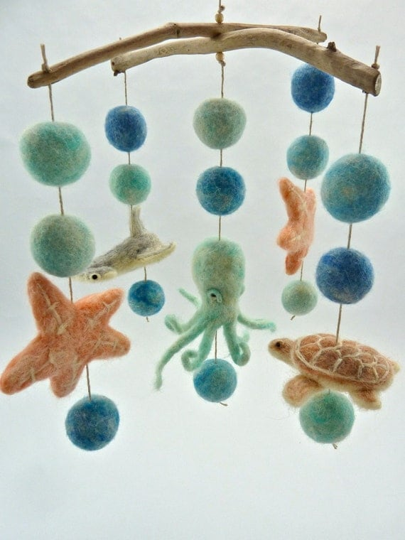 Sea creature mobile hammerhead octopus star by for Sea animal baby mobile