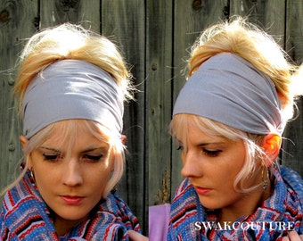 Gray Wide Headband Yoga Head Wrap Cotton Stretch Jersey Women's Workout Running HeadBand Hair Wrap Bandana Turban CHOOSE Your Color
