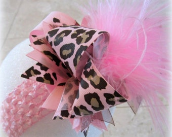 Leopard hair bow, Leopard Over the Top Hair Bow, Baby Pink Hair Bow, Light PInk Hairbows, Large Hair Bow, Boutique Hairbow, Big Hairbows