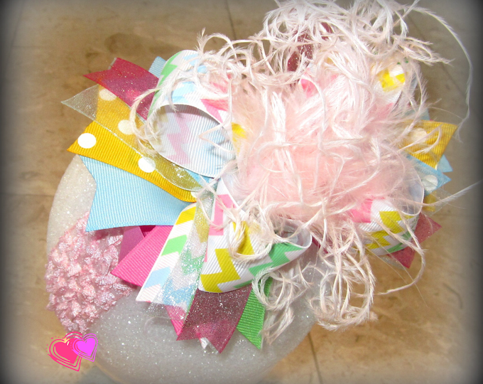 Pastel Chevron Hair Bow, Easter Hair Bow, Over the Top Hairbow, Boutique Hair Bow, Pageant Bows, Party Hairbow, Large Hair Bow, Big hairbows