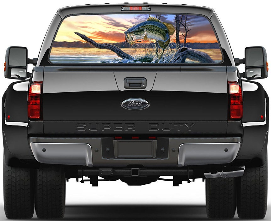 Bass Fish Lake Panorama Painting Rear Window Graphic Decal - Fishing decals for trucks