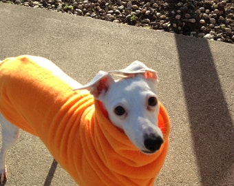 "Italian Greyhound English Style Fleece Dog Coat ""Orange"""