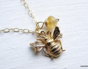Honey Bee Necklace, Citrine Necklace, Gold Bee Charm , November Birthstone , Gold Fill ,  Modern Gold Necklace
