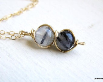 Tourmalinated Quartz Necklace , Black Rutilated Quartz Necklace , Gold  Necklace , Handmade Wrapped Gemstone necklace