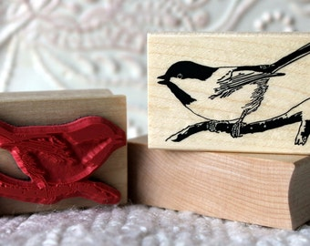 Little Chickadee Bird rubber stamp from oldislandstamps