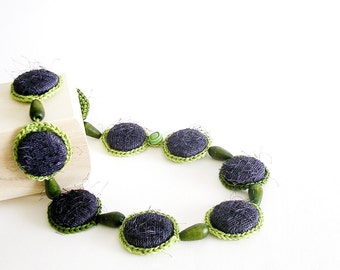 Statement Necklace  Purple and Green Crochet Jewelry Fiber Necklace